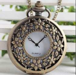 Новая мода кварцевые 5 лепестков выдалбливать женские классические часы Цепочки и ожерелья карманные часы подарок