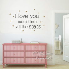 I Love You More Than All The Stars Quote Wall Sticker Baby Nursery Decal Children Room Decor Cut Vinyl Q272