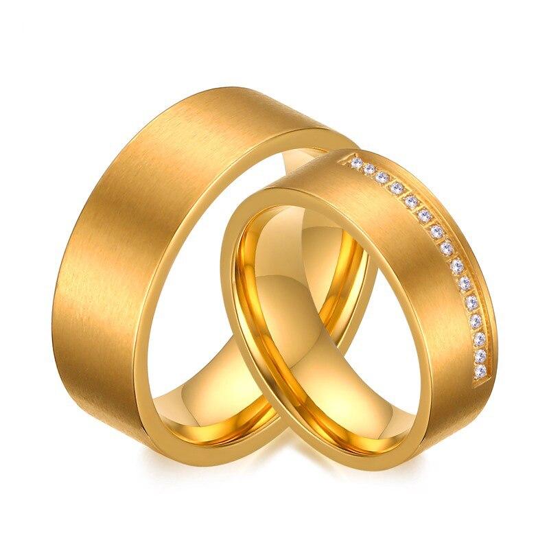 Heyrock золотистые Свадебные Кольца для Для женщин/Для мужчин Jewelry Мода CZ камня, хирургическая Сталь обещание Обручение кольцо