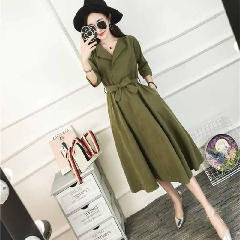 23b03b9d72db4f5 Корейское модное синее зеленое платье с коротким рукавом повседневные платья  с поясом Femme осень 2018 замшевые