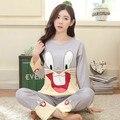 Mujeres Pijamas Trajes de Primavera Otoño de la Historieta Femenina de manga Larga Pantalones de Pijama de Seda de La Leche Pijamas Trajes chándal Bugs bunny M-XXL