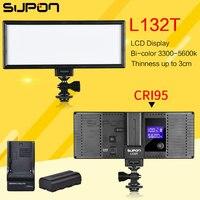 Supon LED L132T Video Light Ultra Thin LCD Display Bi Color Dimmable DSLR Studio Light Lamp
