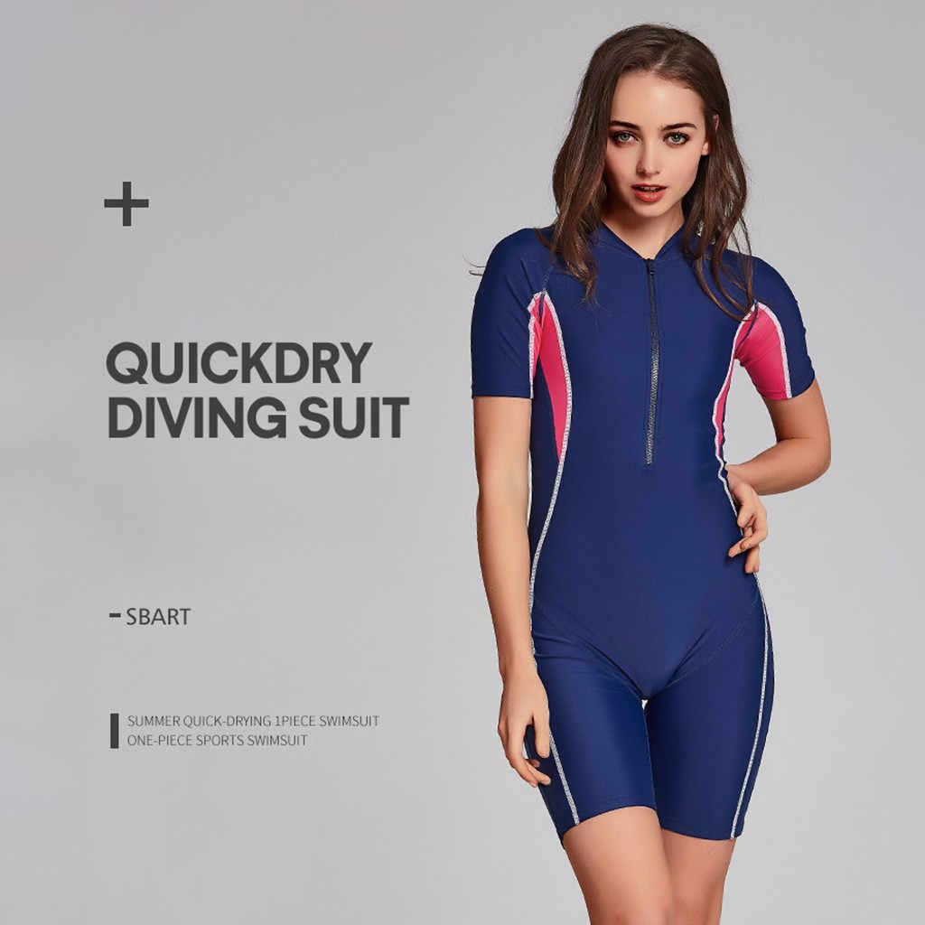 Vrouwen Wetsuit Stretch Duikpak Snorkelen Badpak Surfen Jumpsuit gewatteerde zomer strand push up badpak vrouwen # G3quyu