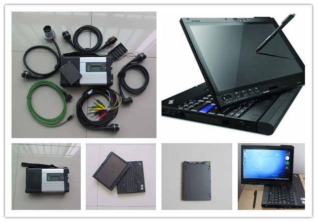 Flash Promo  super mb star c5 diagnosis scanner tool with ssd newest software with laptop x200t touch screen full set ready to use