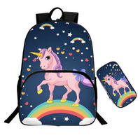 16 Inch Kawaii Unicorn Backpack Rainbow Horse Backpack Kids School Bags for Girls Baby Kindergarten Child Bags Pencil Bag Sets