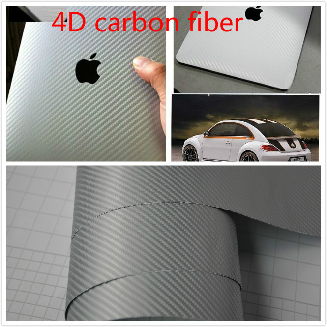 30CM*152CM 4D Carbon Fiber Vinyl Wrap Silver Air Release Easy Cleaning Sticker Decal Waterproof Film Make Your Car Fantasitic!!