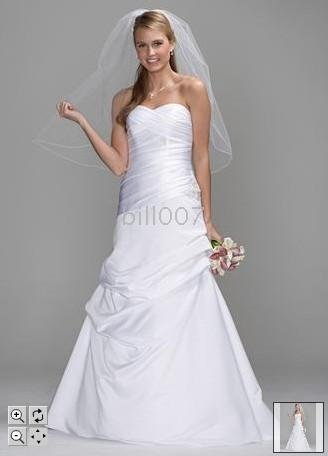 Satin A Line Wedding Dresses Gown With Pleated Drop Waist Bodice Pickup Skirt Db