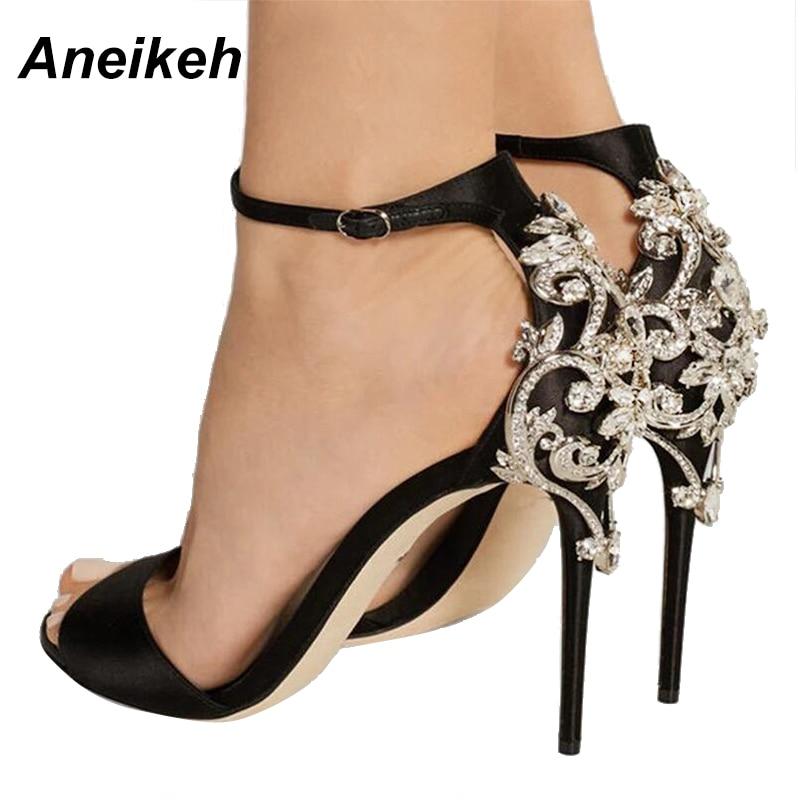 549485a78932 Aneikeh Rhinestone Stiletto Lady Sexy Crystal Thin Heels Sandal Woman Ankle  Strap Wedding Dress Shoes Pump Big Shoe 40 41 42