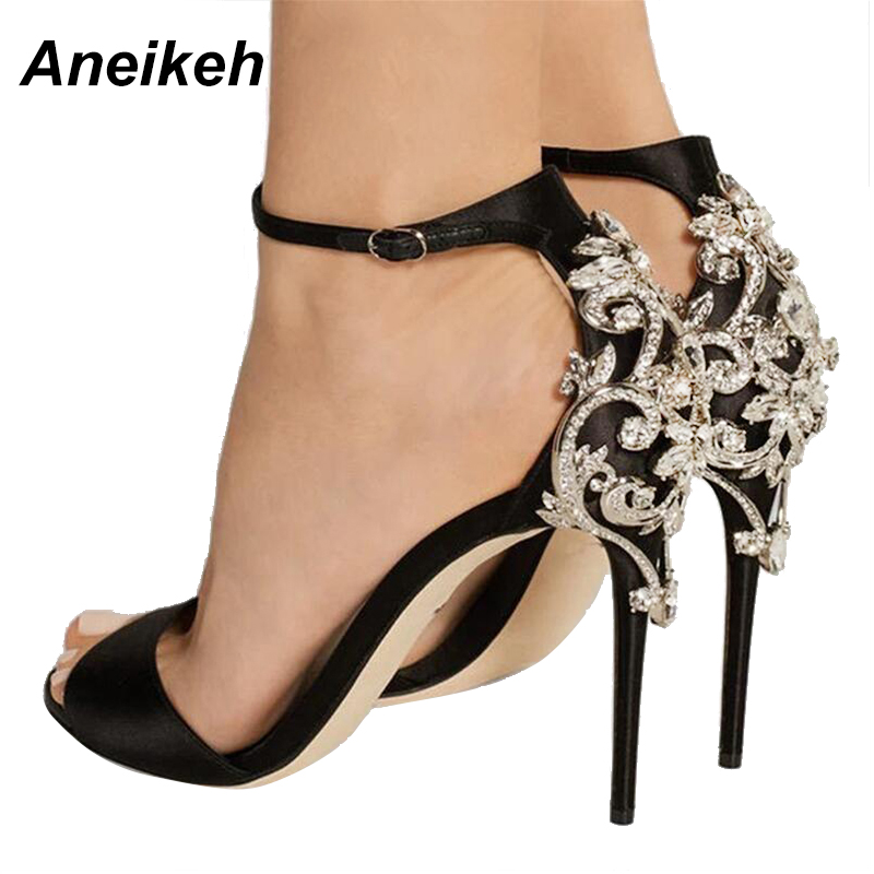 Aneikeh Lady Cristal Stiletto Sexy Sandale Strass Talons Femme Fins 7gvImYfby6