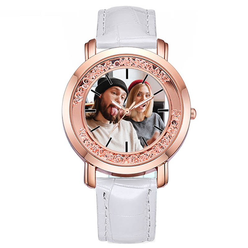 A3320w Personalized Watch Womens Wristwatches Put Your Own Photo Luxury Watches With Rhinestone Fake Diamend Lady Birthday Gift