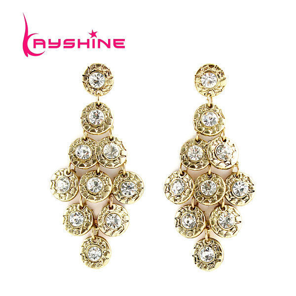 Kayshine Brincos Vintage Luxury Antique Gold-Color Grape Shape Earrings Boucles D'oreille Women With Created Crystal Wholesale