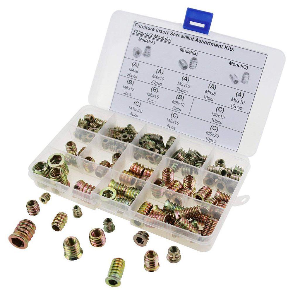 125pcs M4/M5/M6/M8/M10 Furniture Hex Drive Head Nut Threaded For Wood Insert Metric Assortment Kit