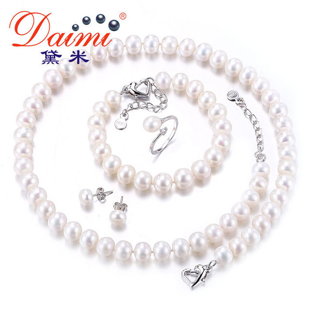 Daimi Bridal Jewelry Sets 8 9mm Natural Freshwater Pearl Necklace Bracelet Earrings