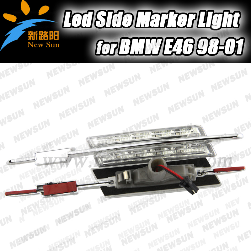 Clear Lens Amber Led Side Marker Light for bmw E46 98-01 2D 4D 5D Chrome Finish Led Fender Side Marker Turn signal Repeater lamp free shipping 2x led turn signal side light auto parts led side marker car accessories with m logo for bmw e46 02 05 4d 5d