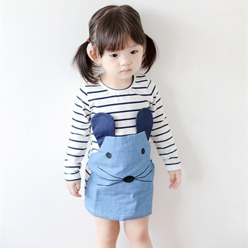 New  spring Girl Dresses Long Sleeve Cute Mouse Children Clothing Girls Dress Denim Kids Clothes