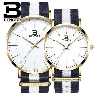 где купить 2017 Men Women Watches Top Brand Luxury Binger Quartz Watch Nylon Rose Gold Silver Clock Relojes Mujer Montre Femme Horloge дешево