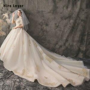 Image 2 - Женское свадебное платье, бальное платье с v образным вырезом, украшенное бусинами и блестками, с золотистой аппликацией, 2020