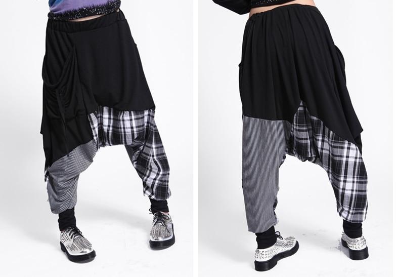sale uk official photos cute € 16.6 8% de réduction Nouvelle Marque De Mode décontracté Femmes Sarouel  Pantalon Hippie Corde Plaid Patchwork Femmes Hip Hop Danse pantalons de ...