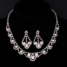 Stylish Bridal Jewelry Sets For Women Temperament Crystal Necklace Drop Earring Set Wedding Accessories Jewelry Sets For Femme недорого