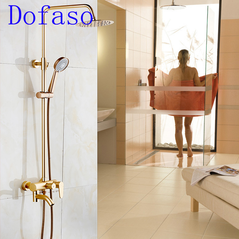 Dofaso brass all gold bath shower faucet set vintage rose golden shower taps mixer faucet
