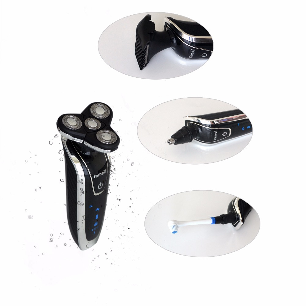 3Pcs Men's Electric Shaver Beard Razors Waterproof Barbeador Rechargeable Shavers Nose Trimmer Hair Clipper Men Face 220V 4 in 1 недорого