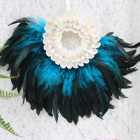 Free Shipping 1pcs Lot White Coconut Feather Hanging Crafts Natural Shell Beach Wedding Decor Handmade Craft