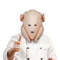 Thanksgiving Clumsy Cook Turkey Head Mask Latex Costume Uncooked Halloween Gag