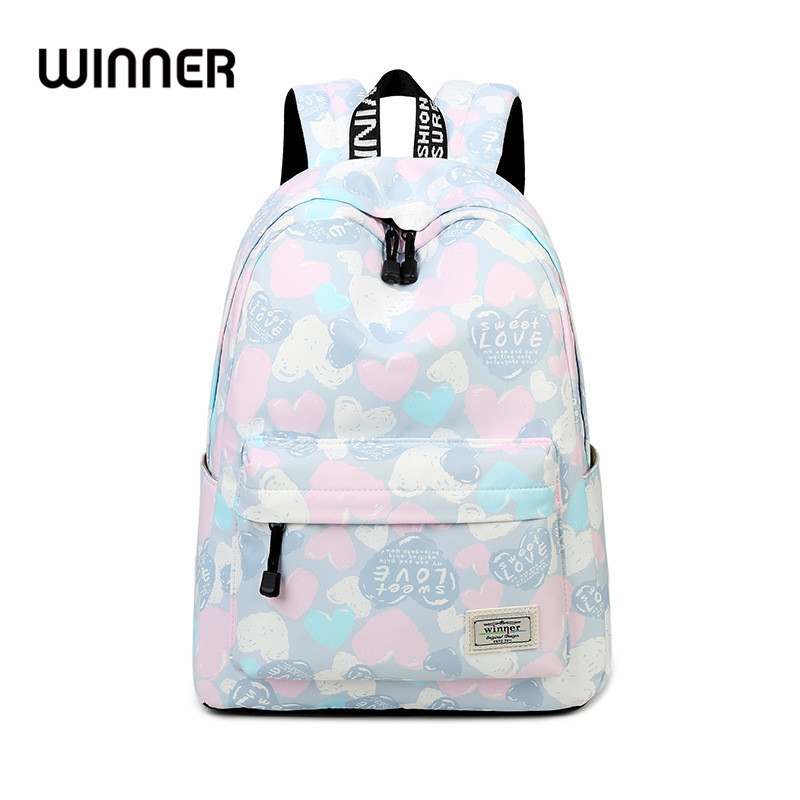 Casual Large Capacity Travel Women Waterproof Backpack Cute Pink Heart Pattern Printing Lady Shoulder Bags Girls