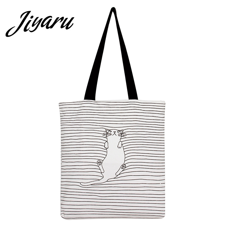 Casual Beach HandBags Shopping Bags Cat Cartoon Print Women Girls Canvas Tote Bags Shoulder Bags Plaid Canvas Tote for Female