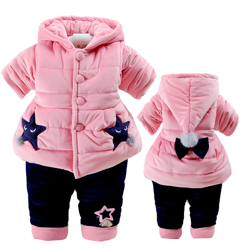 CHCDMP 2018 New Children Girls Winter Thick Warm Clothing Suit Long Sleeve Shirt Jacket With Hat Pink Fashion Kids Clothes Sets skullies beanies the new russian leather thick warm casual fashion female grass hat 93022