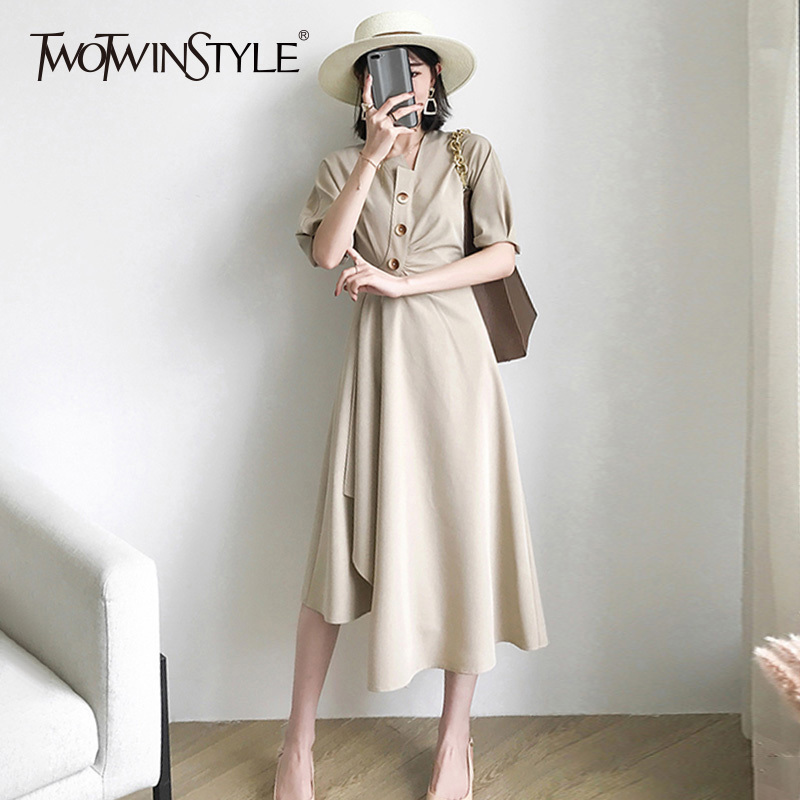 TWOTWINSTYLE Irregular Dress For Women V Neck Tunic High Waist Patchwork Long Dresses 2019 Summer Female Fashion Casual Clothing-in Dresses from Women's Clothing    1