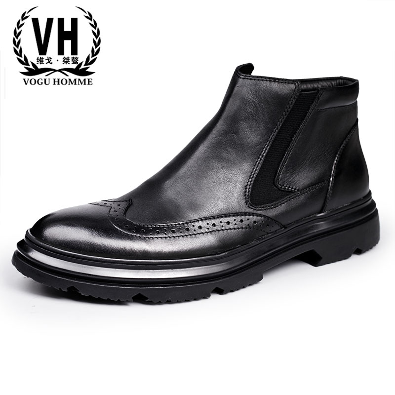 Men's leather shoes high British black British men Bullock boots Martin leather shoes en's winter boots men boots boots men leat martin boots men s high boots korean shoes autumn winter british retro men shoes front zipper leather shoes breathable