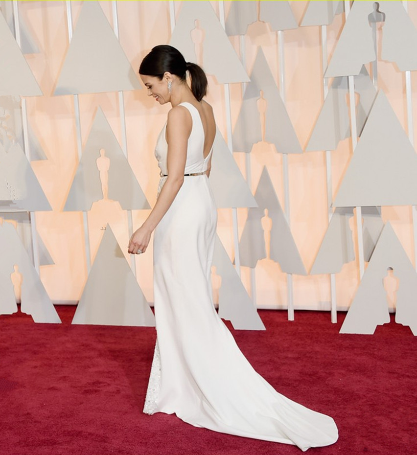 2015 Jenna Dewan Tatum Oscars Sparkly Long Dress White Deep V Neck ...