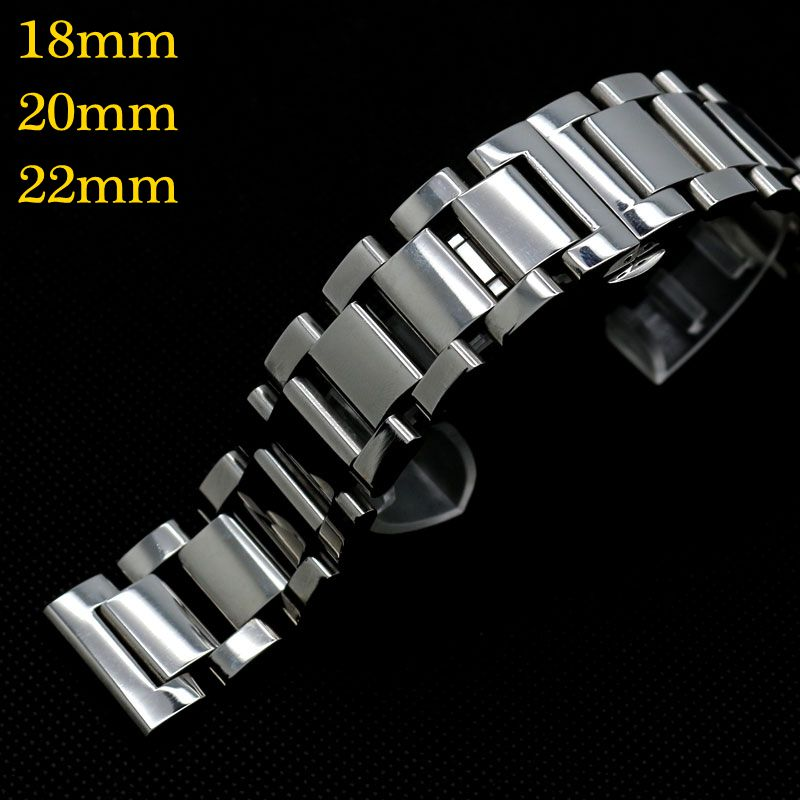18/20/22mm Solid Link Wrist Band For Wish Watch Bracelet Push Button Men Stainless Steel Butterfly Buckle Strap GD0145 leatherman watch link buckle stainless steel multifunction tool outdoor sports bracelet accessories for men adjustable buckle