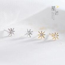 Hot Sale Silver Dazzling CZ Star Secret Small Stud Earrings 925 Hexagon For Women Fashion Jewelry