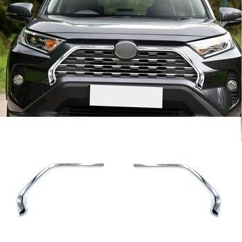 2 stuks ABS Verchroomde Auto Voor Grill Grille Decoratieve Cover Sierlijsten Voor Toyota RAV4 2019 2020 Auto Styling