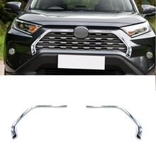 2pcs ABS Chromed Car Front Grill Grille Decorative Cover Trim Strips For Toyota RAV4 2019 2020 Car Styling