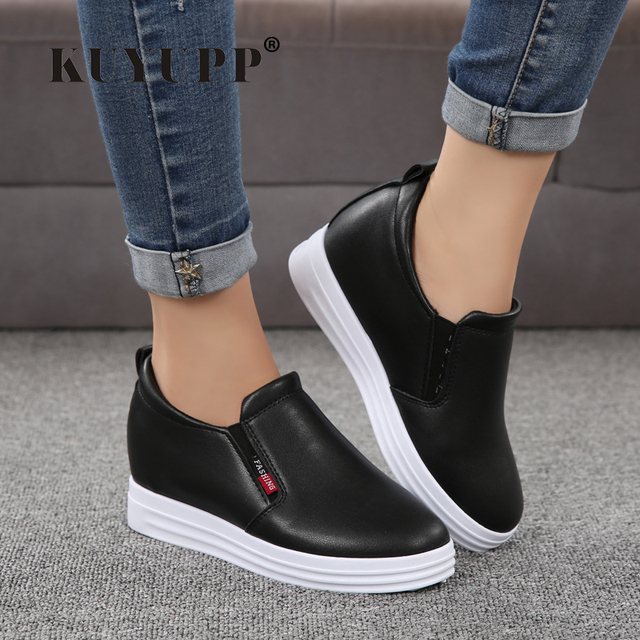 Wedge Leather Casual Shoes Woman Platform Shoes 2017 Spring New Simple Height Increasing Women Shoes Round Toe Ladies Shoes ZD48