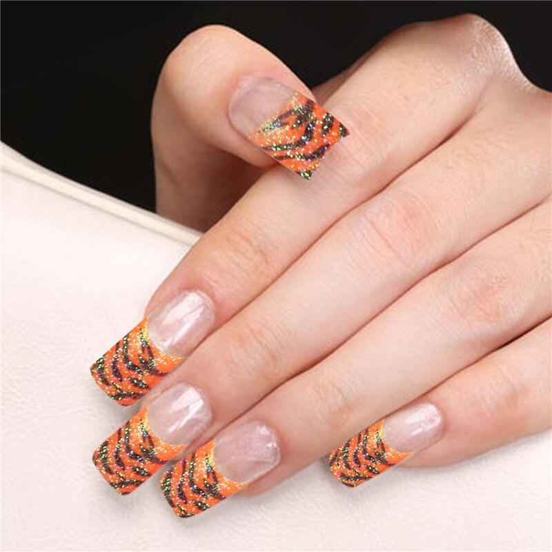 70pcs French Manicure False Nails DIY Nail Art Leopard Decoration ...
