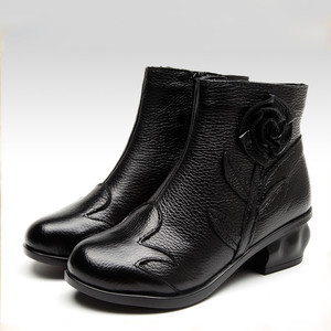 Image 2 - BEYARNE  2018 Autumn Fashion Women Genuine Leather Boots Handmade Vintage Flower Ankle Botines Shoes Woman Winter botas