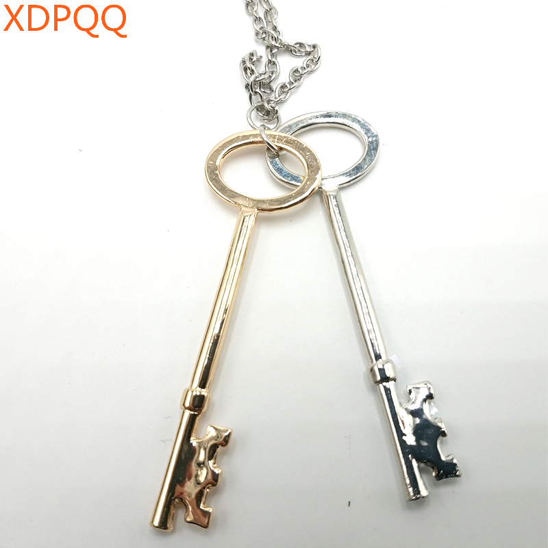 Fashion girl jewelry gift couple heart lock key pendant alloy polished leather rope two-color necklace