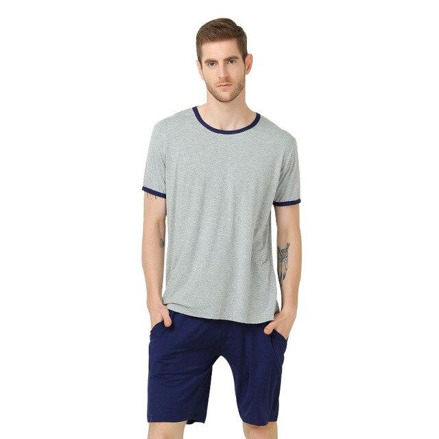 d88cefd9b6c4 2018 Summer Autumn Men Pajamas Set Plus Size Breathable Modal Casual Sleepwear  Man Home Sleep T-Shirt   Shorts Two Piece Set 4XL