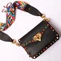 High quality fashion style rivet  agate Genuine Leather braided shoulder strap flap shoulder bag handbag messenger bag ladies