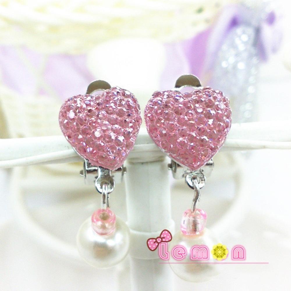 1 Pair Cute Kids Girls Rhinestone Ear Clip Style Earring Soft Cushion  Invisible Ear Hanging Ear