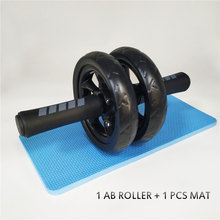 New Keep Fit Wheels No Noise Double Abdominal Wheel Ab Roller With Mat For Exercise Fitness Equipment Man Women GYM A