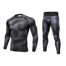 2017 Fitness Tight Sport Suit Men Long Sleeve Shirt +Pant Men's Running Set Compression Gym Clothing Quick Dry Men's Sportswear