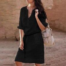 boho women dress womens clothing new fashion  ladies solid v-neck elegant casual female dresses