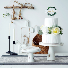 Soporte de pastel de madera blanco Vintage para Decoración de mesa de boda al aire libre tienda de horneado pan Pantalla de café platos suministros para fiesta en casa
