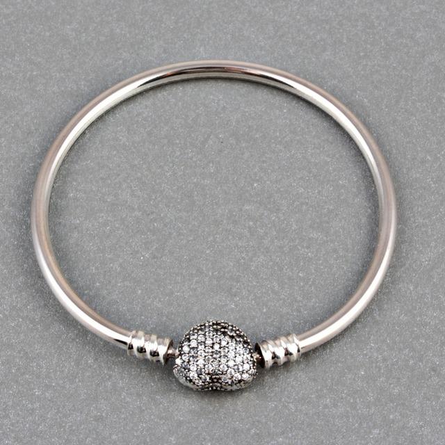 Zmzy pavimenta completo cubic zirconia 100% de plata de ley 925 brazalete corazón clip de broche de estilo europeo pulseras del encanto para las mujeres joyería