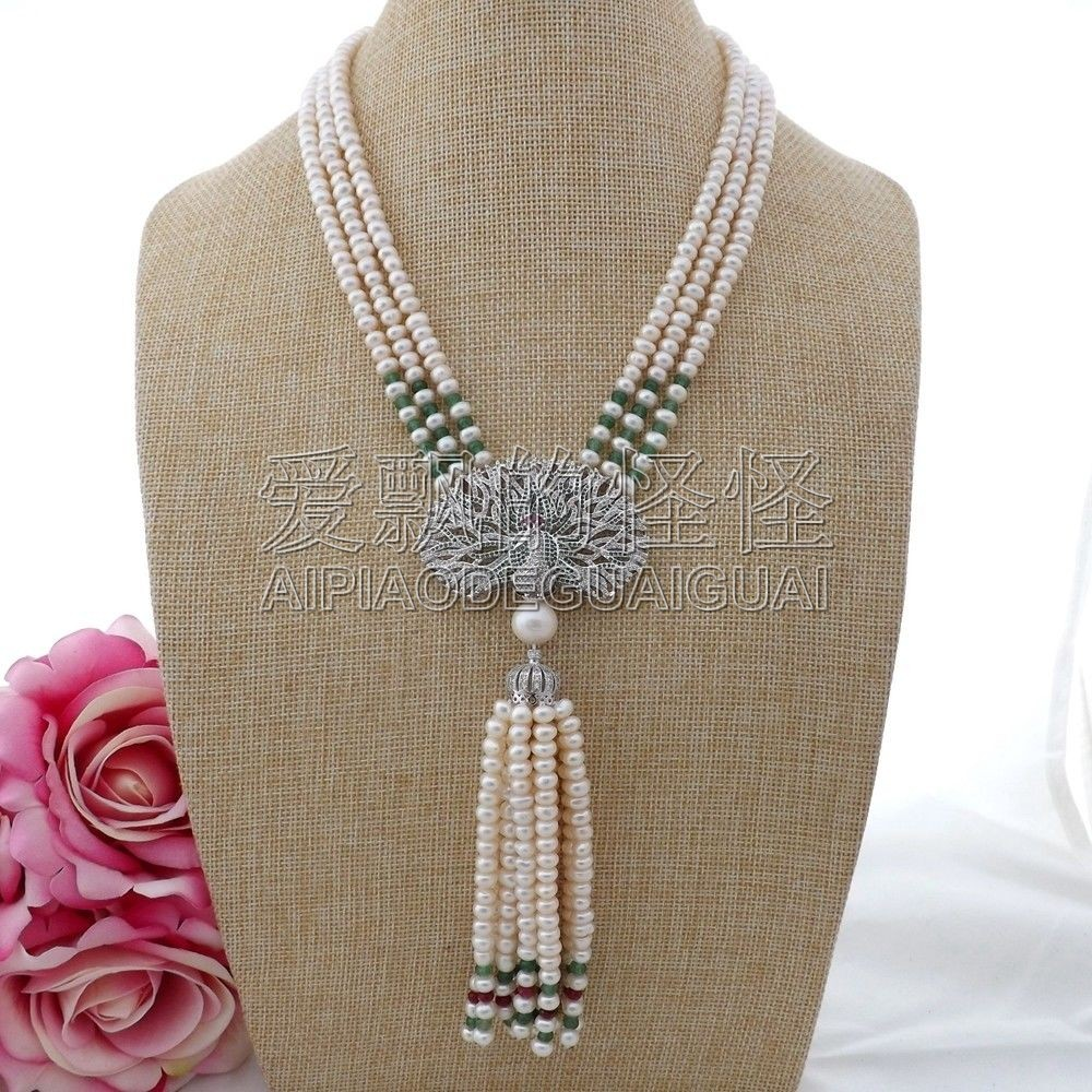 N091306 18'' 3 Strands White Pearl Stone Necklace CZ Pendant 20 23 7 strands green stone necklace cz pendant
